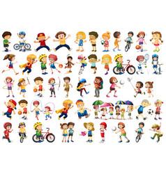 Set sport kids vector