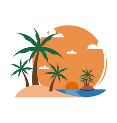 simple beach palm trees sunset view travel island vector image