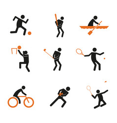 Simple sport player abstract symbol graphic set vector