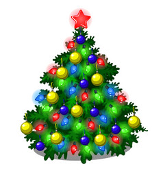 sketch with cute christmas tree with new year and vector image
