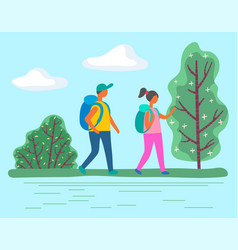 sporty man and woman on camping or hiking vector image
