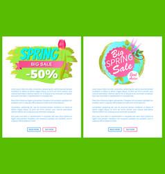 spring big sale -50 off advertisement label tulip vector image