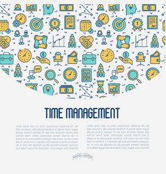 time management concept with thin line icons vector image