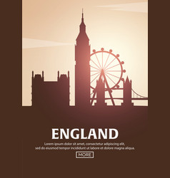 travel poster to england landmarks silhouettes vector image
