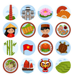 travel to vietnam set of vector image