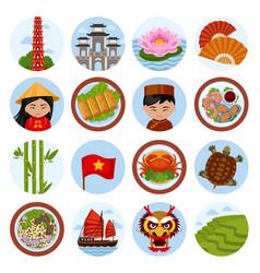 Travel to vietnam set vector