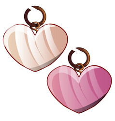 Two pendants in shape a heart isolated on a vector