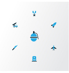 Warfare colorful icons set collection of rocket vector