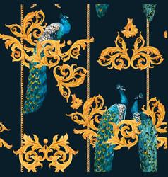 watercolor peacock golden pattern vector image