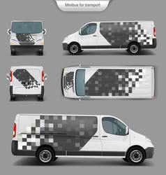white minivan front back side view vector image