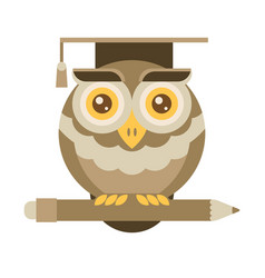 Wise owl with pencil university graduation vector