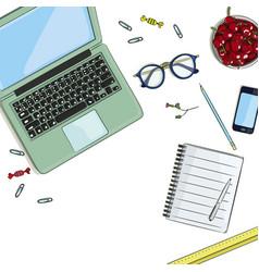 Workplace of designer vector