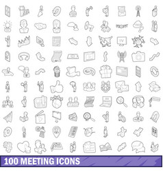100 meeting icons set outline style vector image vector image