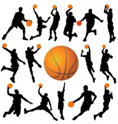 basketball player and ball vector image