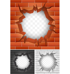 Crack in brick wall vector image