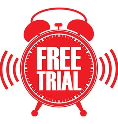 Free trial red alarm clock vector image vector image