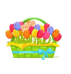 happy easter note in tulips bouquet vector image vector image