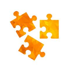 Polygon golden icon puzzle vector