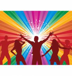 rainbow starburst and dancers vector image