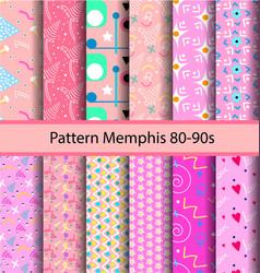 12 set pattern 80s background vector image vector image