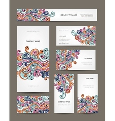 Business cards collection abstract waves design vector image