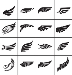 Wings design elements set in different styles vector image vector image