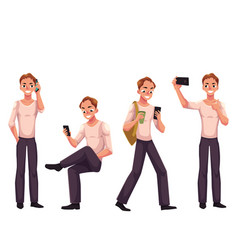 young man using phone smartphone calling vector image