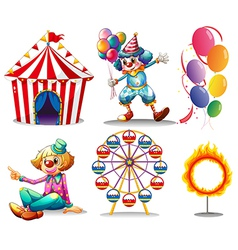 A circus tent clowns ferris wheel balloons and a vector image