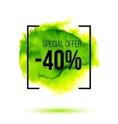 Abstract green watercolor splash with discount 40 vector image