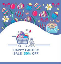 Happy easter sale banner spring holiday offer vector