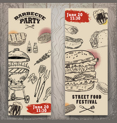set of bbq party invitation templates on light vector image