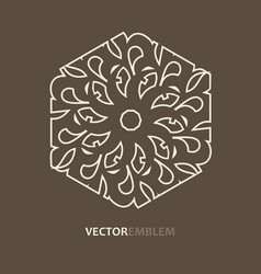 abstract hexagon emblem vector image vector image
