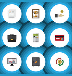 flat icon finance set of counter hand with coin vector image vector image