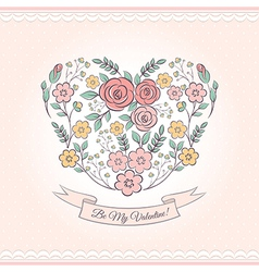 Floral graphic with heart vector image