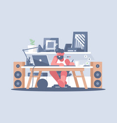 freelancer works with laptop vector image vector image