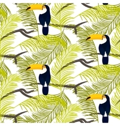 Green palm leaves and toucan bird seamless vector image vector image