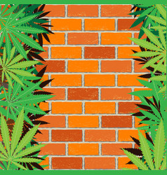 hemp and brick wall background vector image vector image