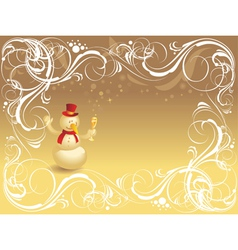Ornate background with snowman vector image vector image