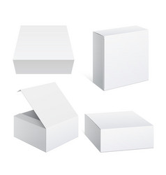 realistic white package cardboard box set vector image vector image