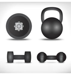 A set of dumbbells isolated on white background vector image