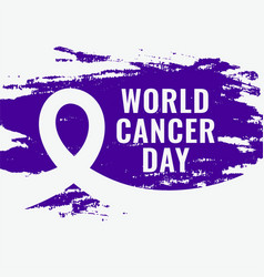 Abstract world cancer day awareness grunge poster vector
