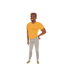 Adult bearded afro-american man posing isolated on vector