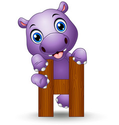 alphabet h with hippo cartoon vector image
