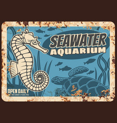 Aquarium oceanarium metal plate rusty sea life vector