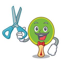 barber ping pong racket character cartoon vector image
