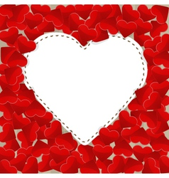 Big white paper heart with small red hearts vector image