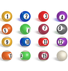 billiard pool balls collection snooker realistic vector image