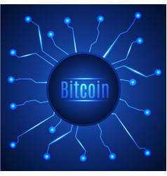 blue bitcoin digital currency circle banner vector image