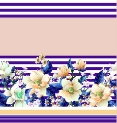 Border with magnolia flowers vector