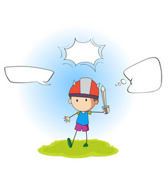 boy playing sword with speech balloon vector image